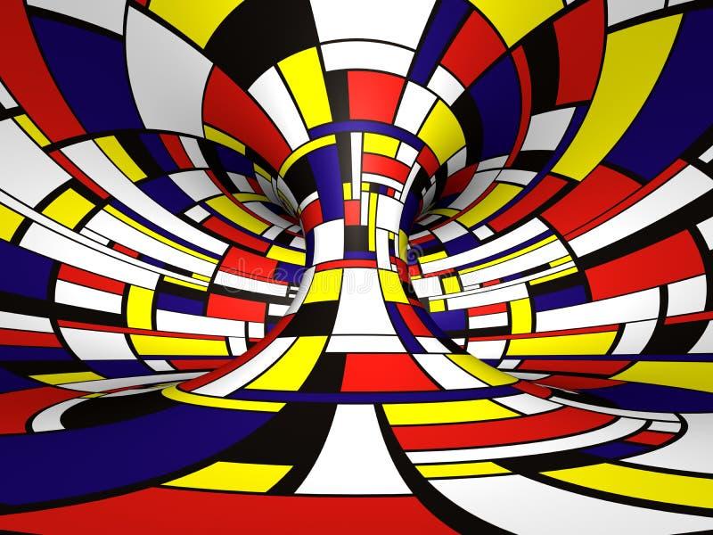Abstrakte 3D Mondrian Art vektor abbildung