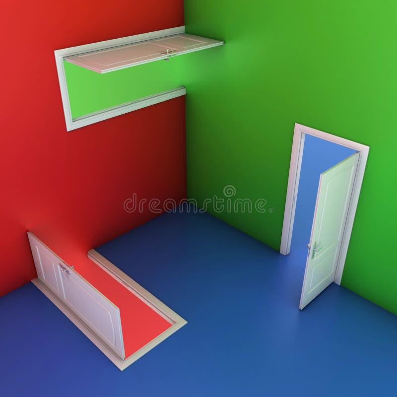 Abstrakte Abbildung der Türen 3d stock abbildung