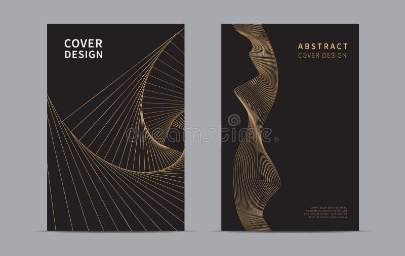Abstrakte Abdeckung-Auslegung Goldene Linie Wellenhintergrund Luxusart Auch im corel abgehobenen Betrag lizenzfreie abbildung