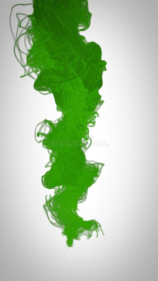 Abstrakte Acrylfarbenfarbe wirbelt in Wasser auf weißem Hintergrund stockfoto