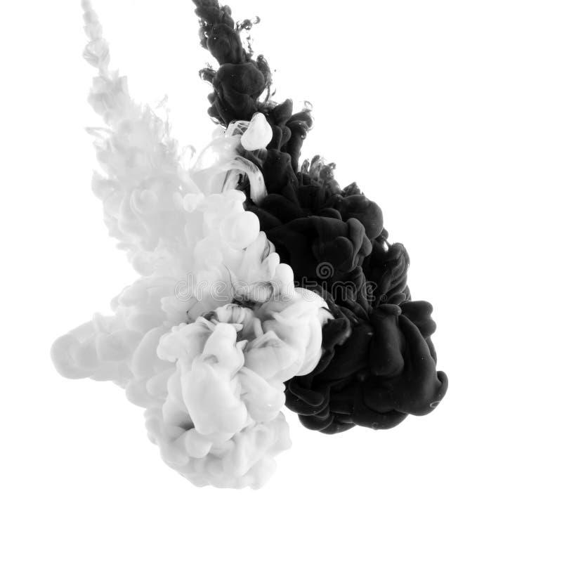 Abstrakte Acrylschwarzweiss-Farbe lizenzfreie stockfotografie