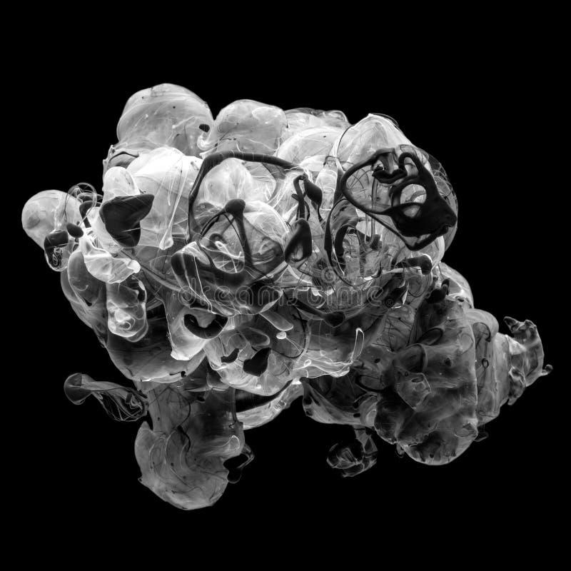 Abstrakte Acrylschwarzweiss-Farbenstrudel lizenzfreie stockbilder