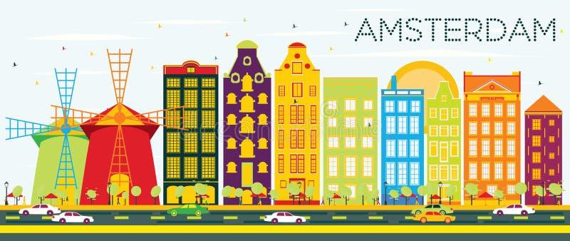 Abstrakte Amsterdam-Skyline mit Farbgebäuden und blauem Himmel lizenzfreie abbildung
