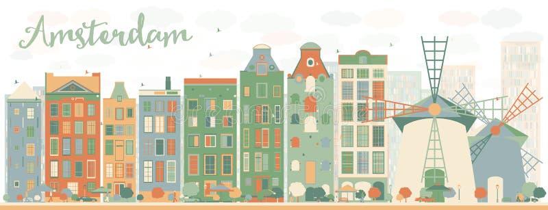 Abstrakte Amsterdam-Stadtskyline mit Farbgebäuden vektor abbildung