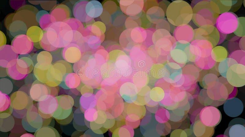 Abstrakte Animation vieler farbigen Partikel der Blasen, die chaotisch schwimmen und auf dem schwarzen Hintergrund blinken stock abbildung