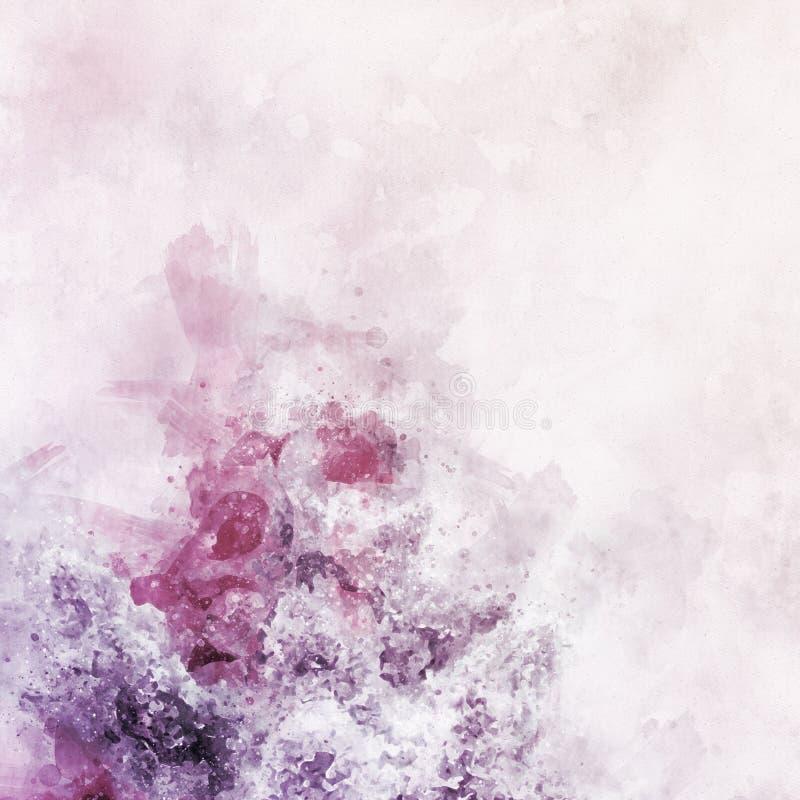 Abstrakte Aquarell-Malerei Digital-hoher Auflösung der lila Blumen-Blüte auf realistischer Papierbeschaffenheit mit Handgezogenem stockbilder