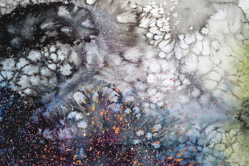 Abstrakte Aquarellabbildung Handgezogene Watercolourmalerei Bunte Flecken maserten Hintergrund vektor abbildung