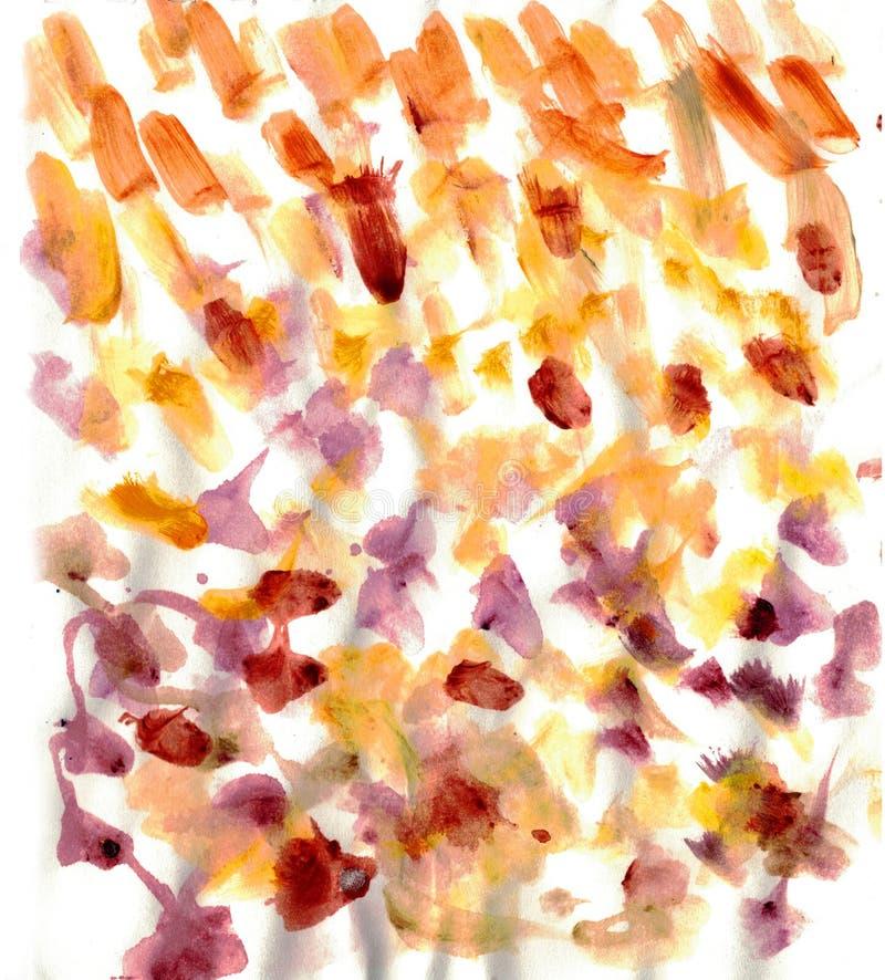 Abstrakte Aquarellbürstenanschläge Orange, braune, purpurrote Farben lizenzfreie abbildung