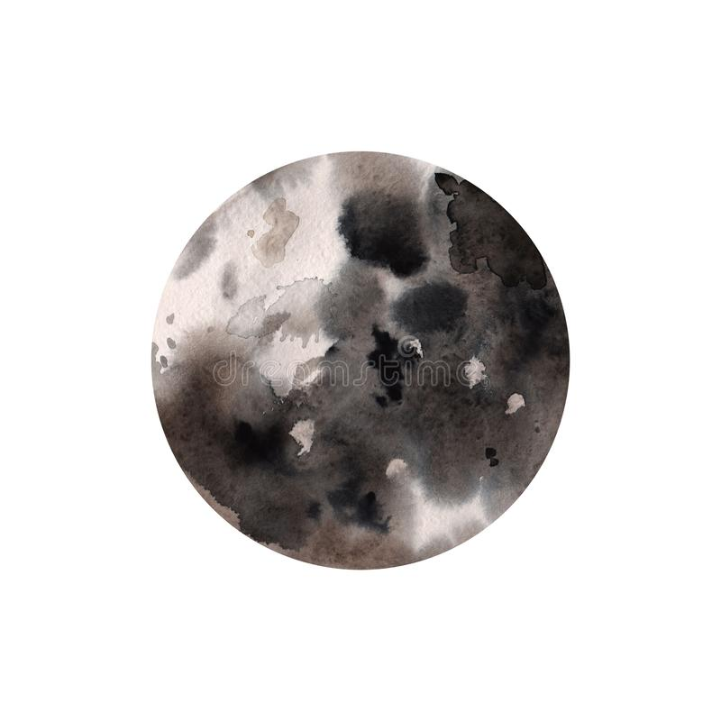 Abstrakte Aquarellhandfarben-Kreisbeschaffenheit, lokalisiert auf weißem Hintergrund lizenzfreie abbildung