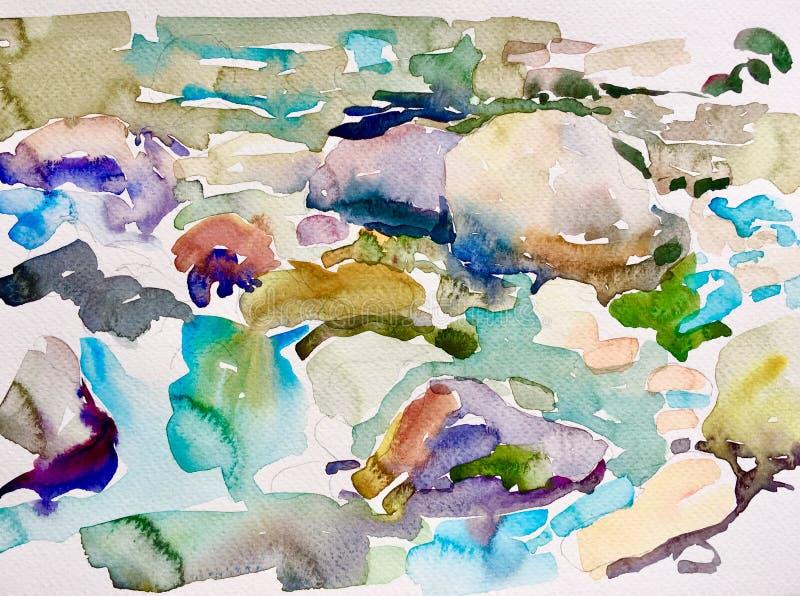 Abstrakte Aquarellmalerei von Steinen im Fluss stock abbildung