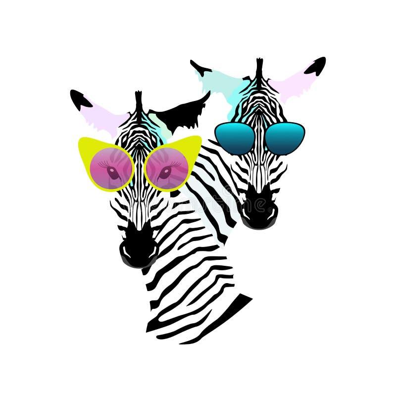 Abstrakte Aquarellmuster zwei lustige gestreifte Zebramädchen-Mannsonnenbrille stock abbildung