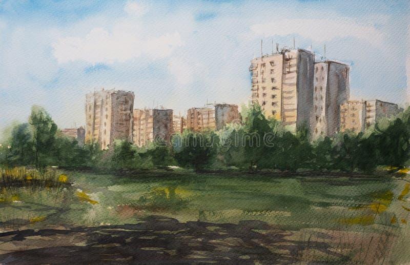 Abstrakte Aquarellskizze von Wohngebäuden lizenzfreie abbildung
