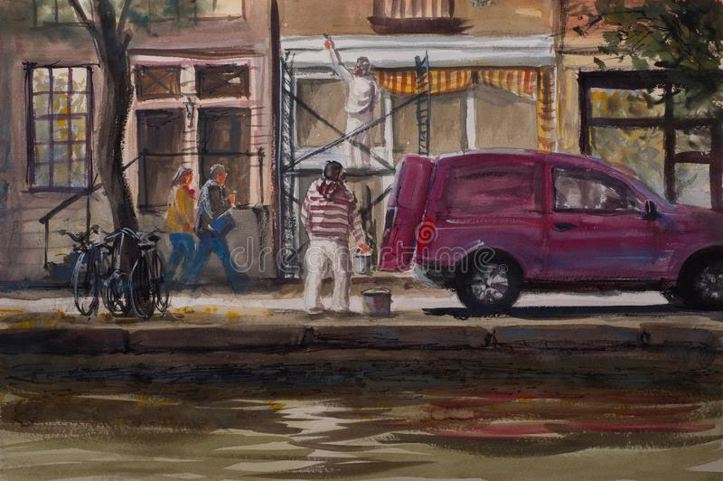 Abstrakte Aquarellskizzenansicht von Amsterdam-Straße vektor abbildung