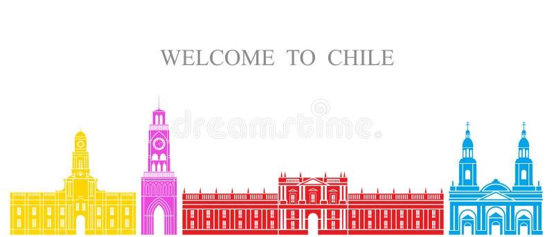 Abstrakte Architektur Lokalisierte Chile-Architektur auf weißem Hintergrund lizenzfreie abbildung