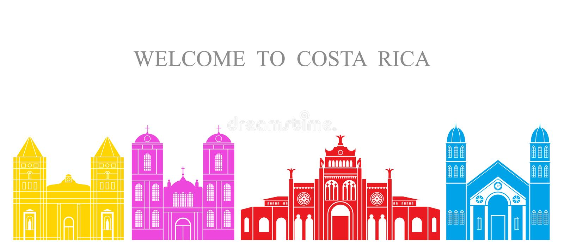 Abstrakte Architektur Lokalisierte Costa Rica-Architektur auf weißem Hintergrund stock abbildung