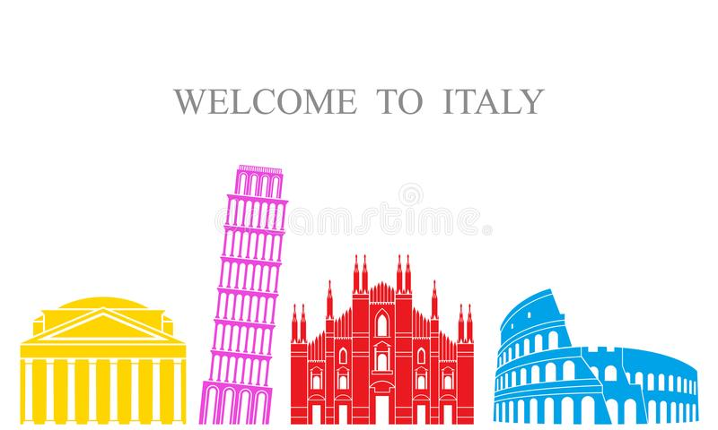 Abstrakte Architektur Lokalisierte Italien-Architektur auf weißem Hintergrund vektor abbildung