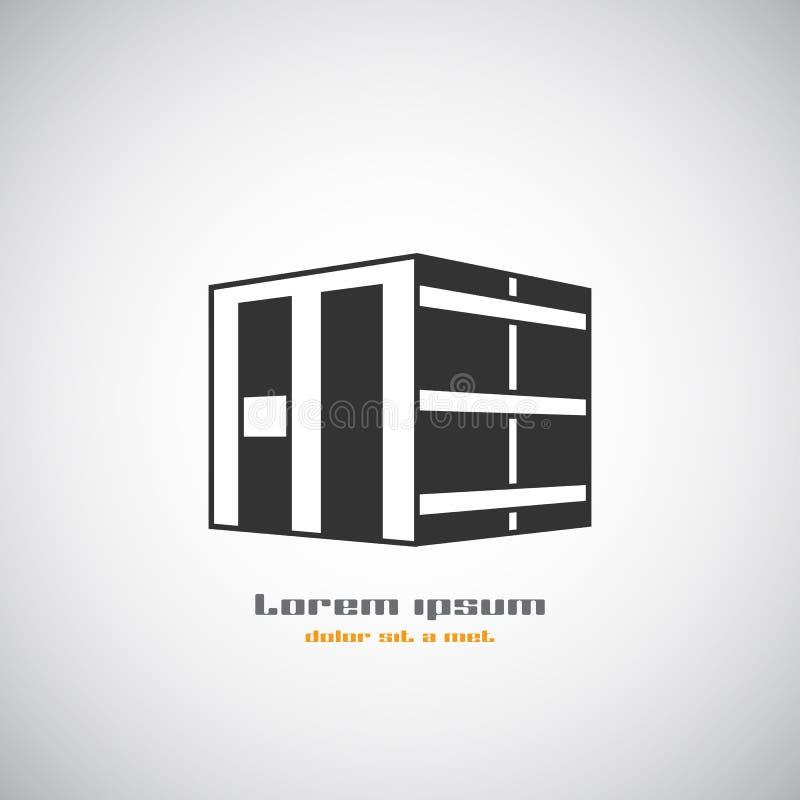 Abstrakte Architekturgebäudeschattenbildvektorlogo-Designschablone Immobiliengeschäftsthemaikone des Wolkenkratzers stock abbildung