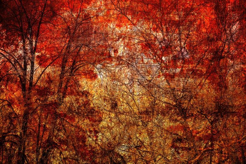 Abstrakte Bäume auf einem hellen roten Hintergrund stockfotos
