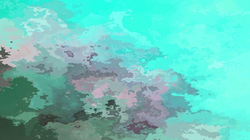 Abstrakte befleckte Lagunenaqua-Graufarbe des Musterrechteckhintergrundes blaue grüne cyan-blaue - moderne malende Kunst - Aquare lizenzfreie abbildung