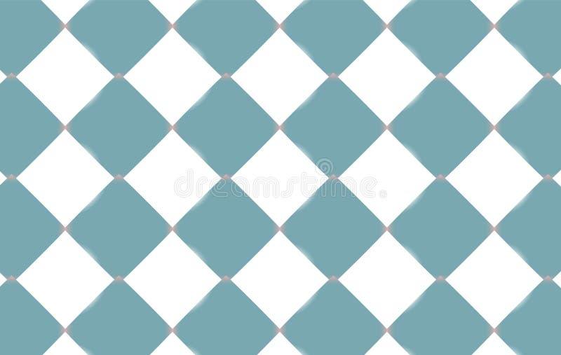 Abstrakte Beschaffenheit von hellblauen und weißen Quadraten von Rauten, keramische leuchtende Fliesen Der Hintergrund Auch im co vektor abbildung