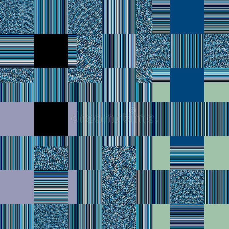 Abstrakte Beschaffenheit in weißem und in Blauem Blaues Gewebe-backgroun Patchworkmuster lizenzfreie abbildung