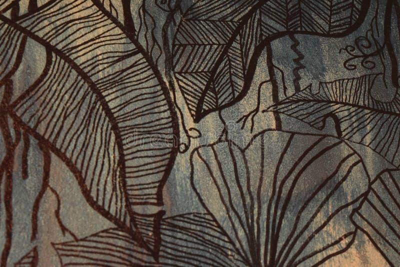 Abstrakte Blatt-Art Graphic Random Pattern Style-Dekoration auf Retro- Hintergrund stock abbildung