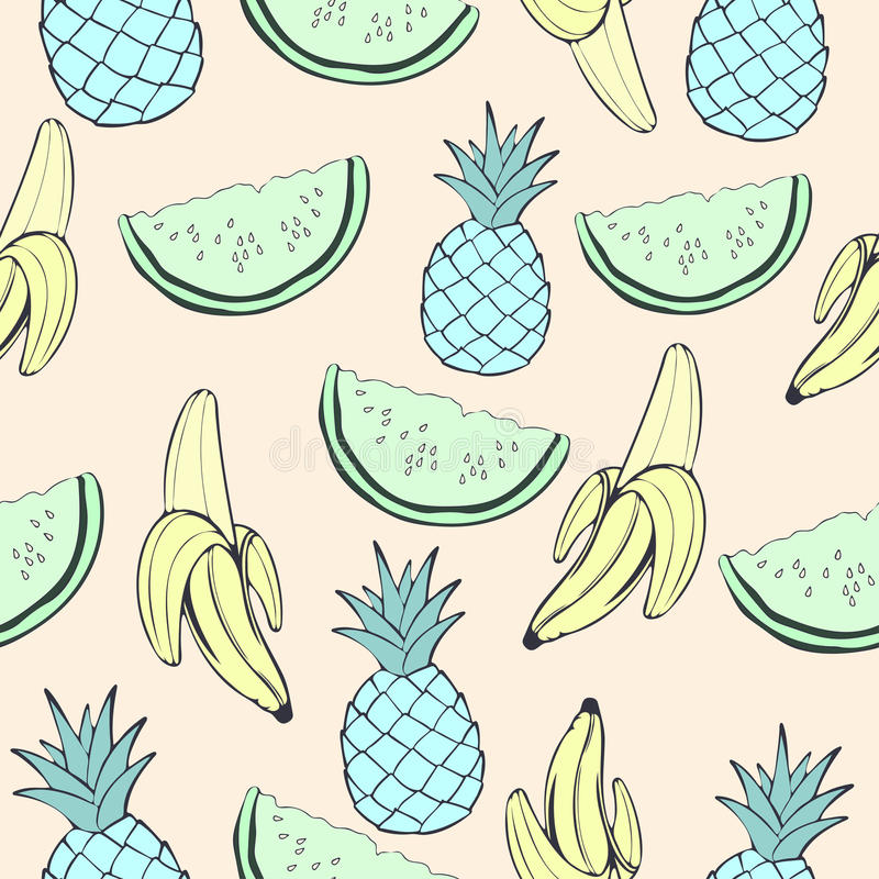 Abstrakte blaue Ananas, grüne Wassermelone und Banane, Frucht in den ungewöhnlichen kreativen Farben, nahtloses Muster der Weinle vektor abbildung