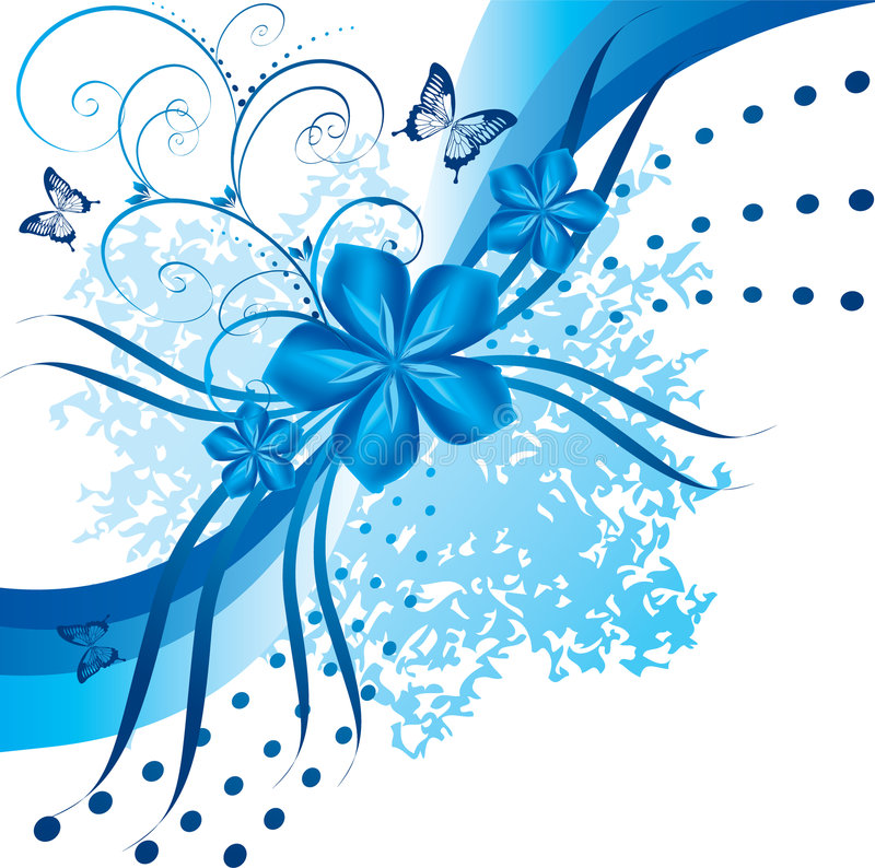 Abstrakte blaue Blumen vektor abbildung
