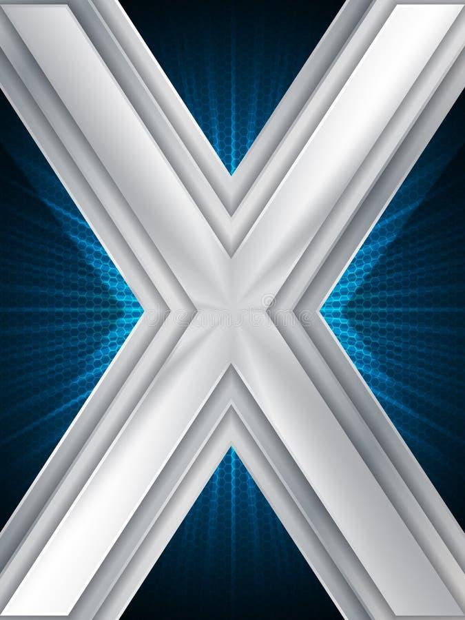 Abstrakte blaue Broschüre mit enormem metallischem X stock abbildung