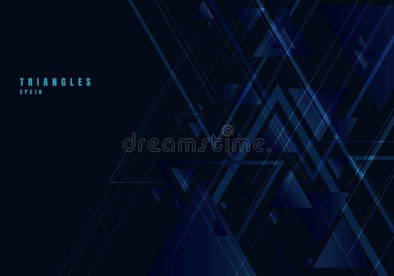 Abstrakte blaue Dreiecke formen und Linien auf schwarzem Hintergrund für Geschäftstechnologieart Geometrisches Gestaltungselement lizenzfreie abbildung