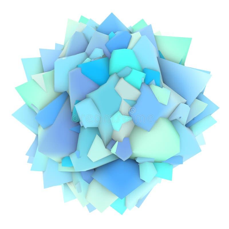 abstrakte blaue Form 3d auf Weiß lizenzfreie abbildung