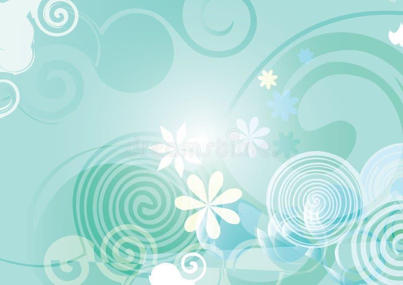 Abstrakte blaue Frühlingshintergrundvektor-Blumensteigung lizenzfreie abbildung
