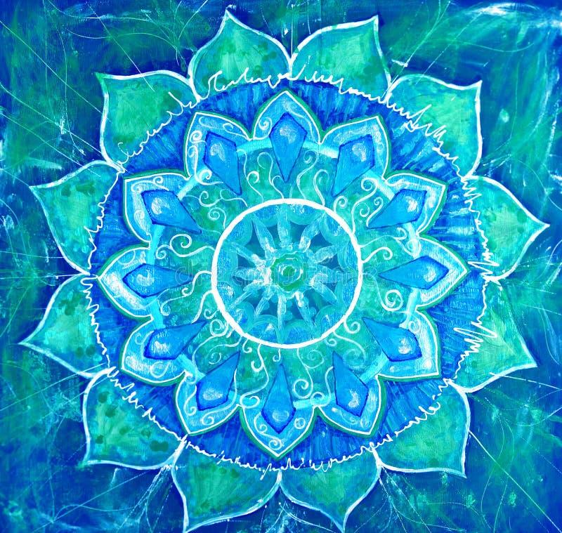 Abstrakte blaue gemalte Abbildung mit Kreismuster lizenzfreie abbildung