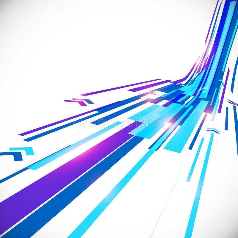 Abstrakte blaue glänzende Linien Vektorhintergrund lizenzfreie abbildung