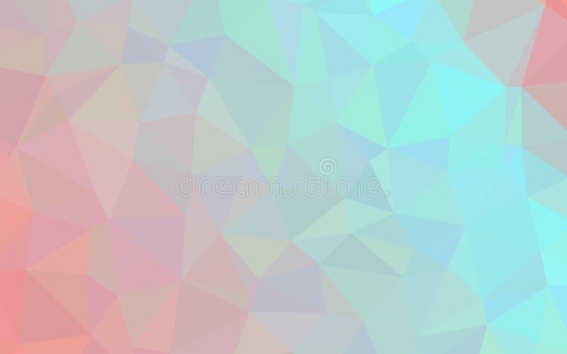 Abstrakte blaue orange Polygonmustertapete stock abbildung