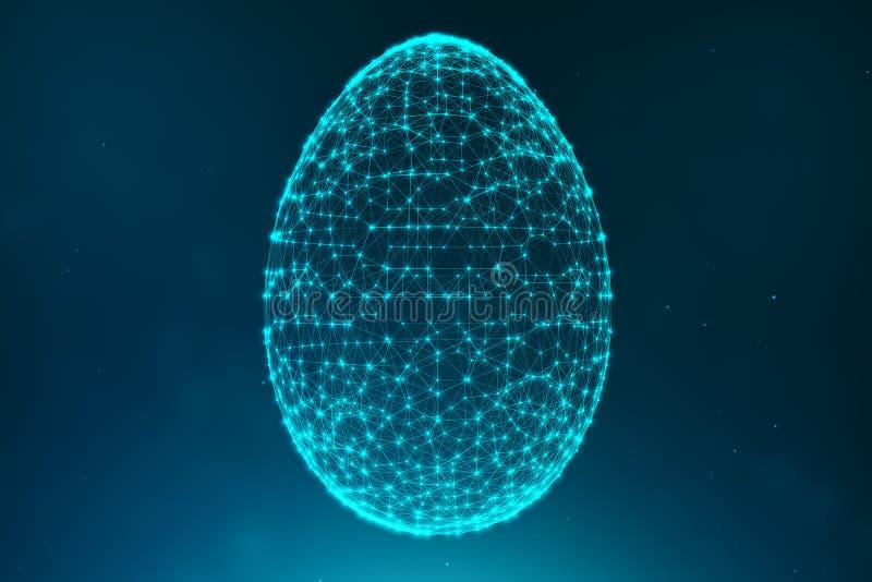 Abstrakte blaue Ostereier, die blauen Linien und aus glühenden Neonpunkten bestehen Abstrakte Eidreieckform Glückliches Osterei lizenzfreie abbildung