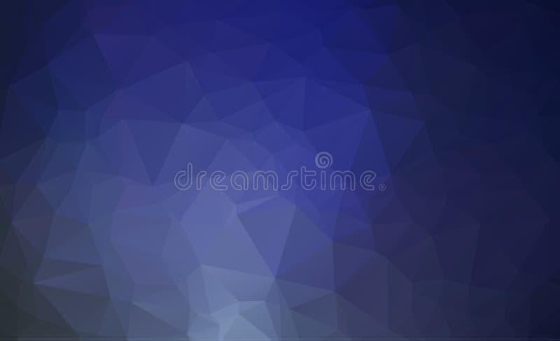Abstrakte blaue polygonale Illustration, die aus Dreiecken bestehen Geometrischer Hintergrund in der Origamiart mit Steigung drei lizenzfreie abbildung