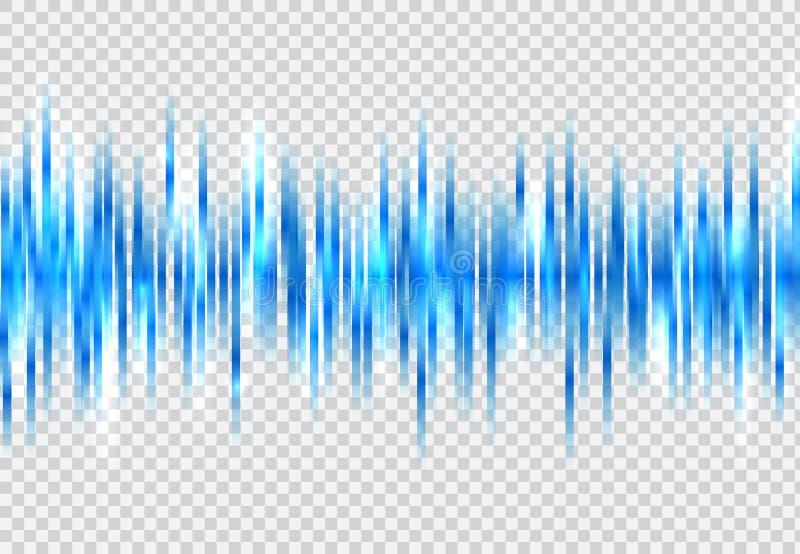 Abstrakte blaue Schallwellemusterelemente mit dem Glühen auf tranpe vektor abbildung