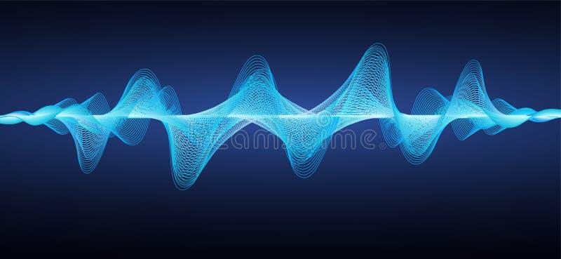 Abstrakte blaue Schallwellen Gewellte Linien des Effektes vektor abbildung