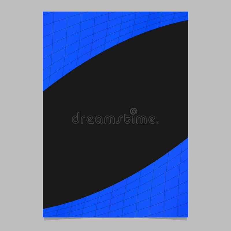 Abstrakte blaue Steigung kurvte Schachbrettmusterfliegerschablone - vector Dokumentenhintergrundgrafikdesign lizenzfreie abbildung