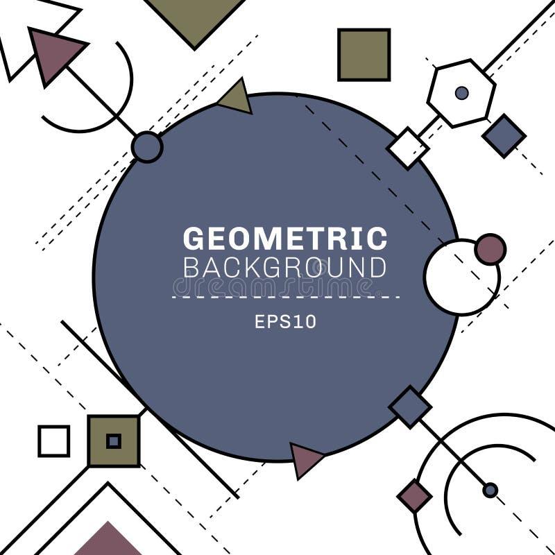 Abstrakte blaue und graue geometrische und Strichliniezusammensetzung auf weißem Hintergrund mit Raum für Text Kreise, Quadrate,  stock abbildung