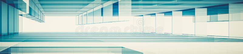 Abstrakte blaue Wiedergabe der Architektur 3d lizenzfreie abbildung