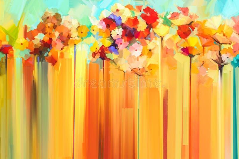 Abstrakte Blumenölfarbmalerei stock abbildung
