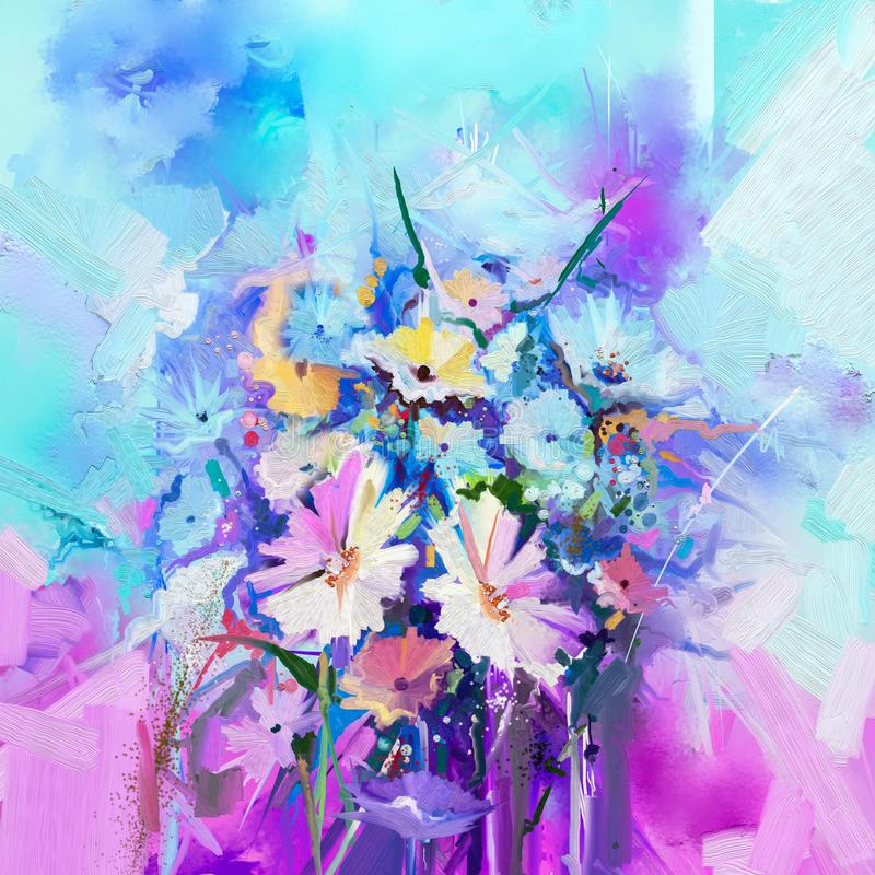 Abstrakte Blumenölfarbmalerei Blühen Sie Malereien auf grün-blaue und rote Farbhintergrund vektor abbildung