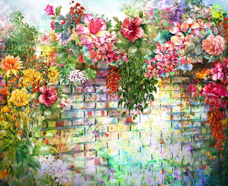Abstrakte Blumen auf Wandaquarellmalerei lizenzfreie abbildung
