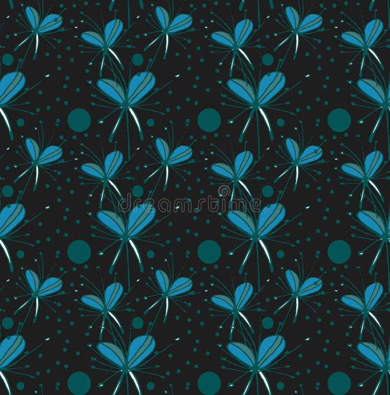 Abstrakte Blumen des Mustertürkises auf schwarzem Hintergrund vektor abbildung