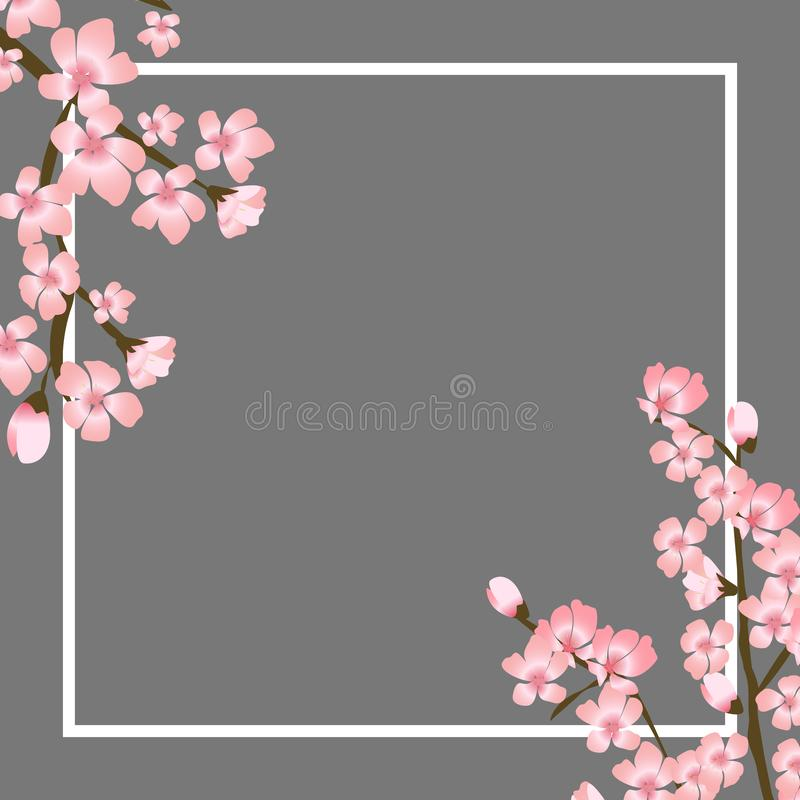 Abstrakte Blumen-Sakura Flower Japanese Natural Background-Vektor-Illustration stock abbildung