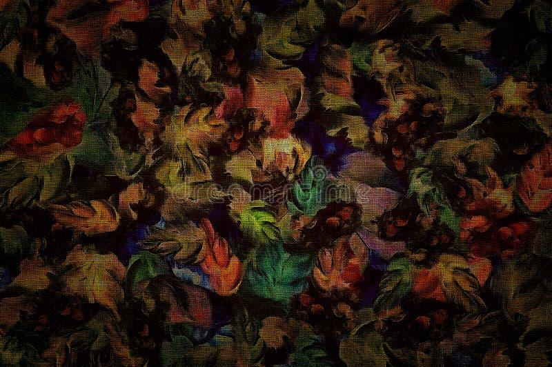 Abstrakte Blumen, Weinlesehintergrund, Fragment von breiten Farbenanschlägen des strukturierten Segeltuches entwerfen für Tapete, lizenzfreie abbildung