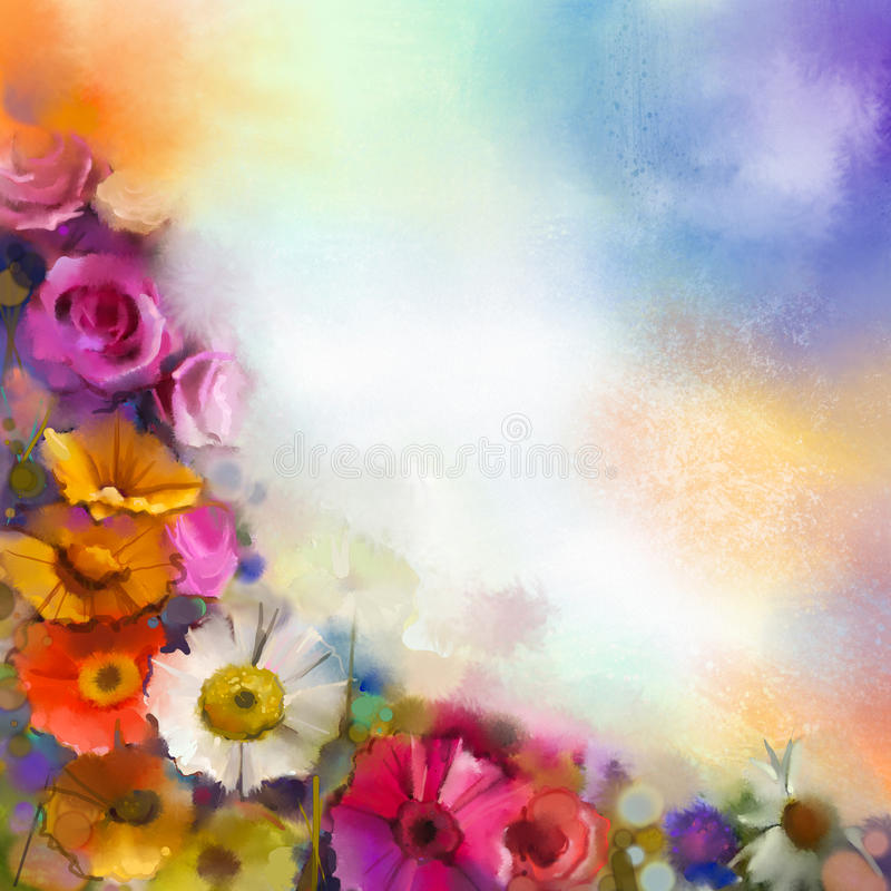 Abstrakte Blumenaquarellmalerei Übergeben Sie weiße, gelbe, rosa und rote Farbe der Farbe von Gänseblümchen Gerbera und von rosaf vektor abbildung