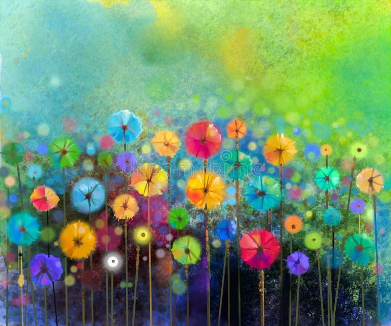 Abstrakte Blumenaquarellmalerei lizenzfreie abbildung